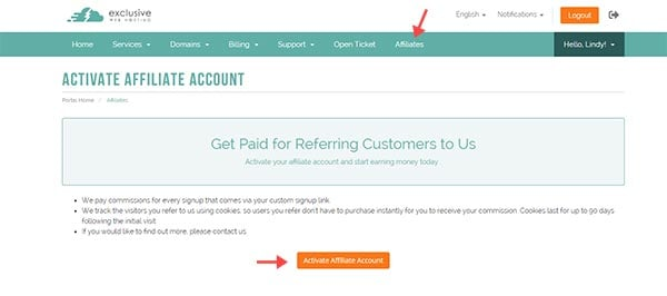 how to active your affiliate account screenshot